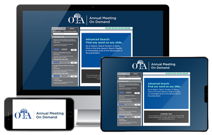 Orthopaedic Trauma Association Annual Meeting OnDemand image of cell phone desktop monitor and tablet with OnDemand